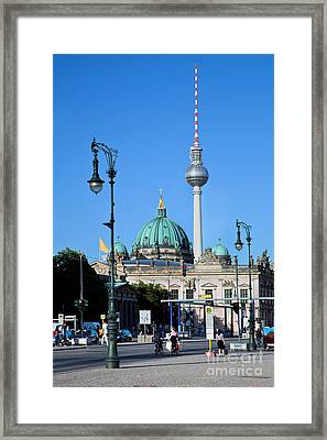 Berlin Cathedral And Tv Tower Framed Print by Michal Bednarek