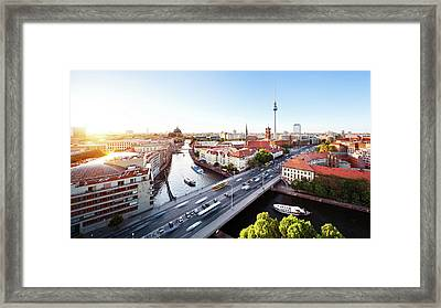 Berlin Cityscape Framed Print by Ricowde