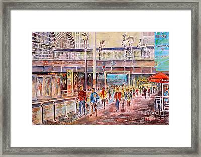 Framed Print featuring the painting Berlin Frederic Street Station by Alfred Motzer