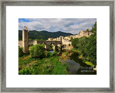 Besalu A Medieval Town In Catalonia Spain Framed Print by Louise Heusinkveld