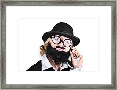 Bespectacled Woman Dressed In Black Holding Torch Framed Print by Jorgo Photography - Wall Art Gallery