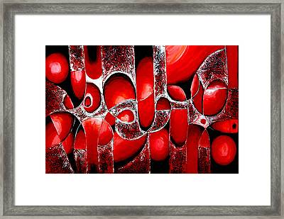 Best Art Choice Award Original Abstract Oil Painting Modern Red Contemporary House Wall Deco Gallery Framed Print by Emma Lambert