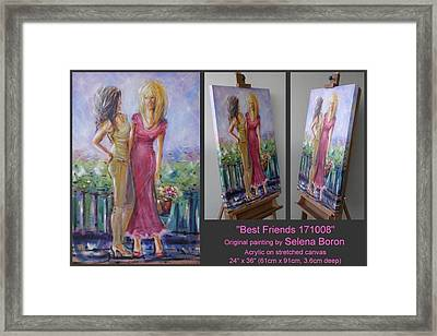 Framed Print featuring the painting Best Friends 171008 by Selena Boron