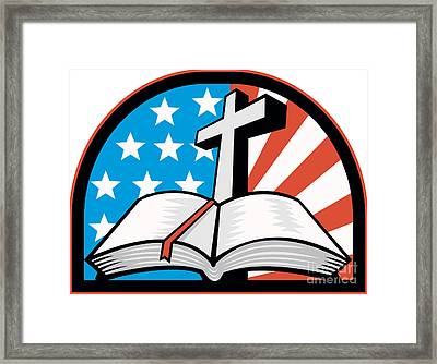Bible With Cross American Stars Stripes Framed Print by Aloysius Patrimonio