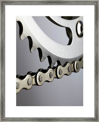 Bicycle Chain And Crank Framed Print by Science Photo Library