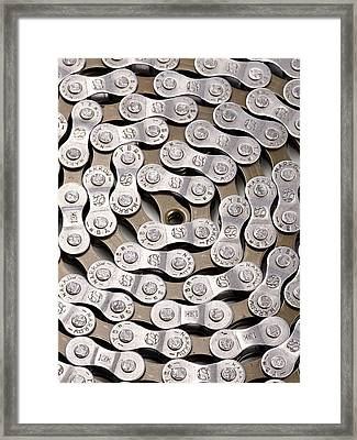 Bicycle Chain Framed Print by Science Photo Library