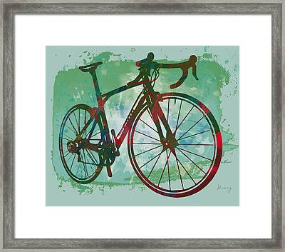 Bicycle Pop Stylized Art Poster Framed Print