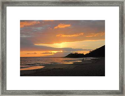 Big Beach At Sunset Framed Print by Stephen  Vecchiotti
