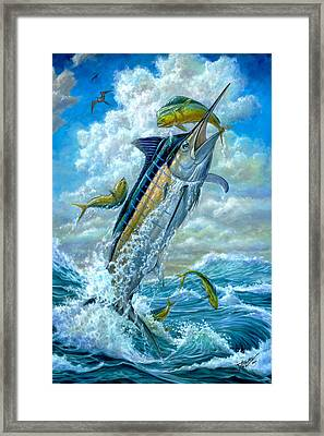 Big Jump Blue Marlin With Mahi Mahi Framed Print