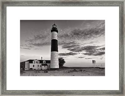 Big Sable Point Lighthouse In Black And White Framed Print by Sebastian Musial