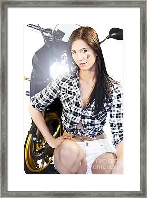 Biker Girl Framed Print