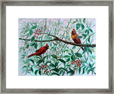 Birds In Our Garden Framed Print by Laila Awad Jamaleldin