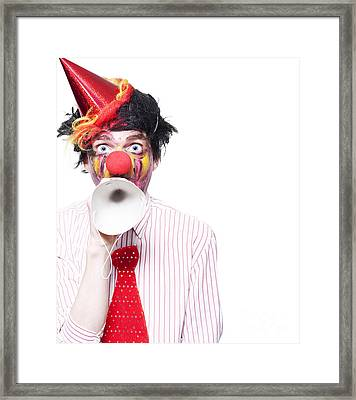 Birthday Clown Making Invitation To Party Guests Framed Print by Jorgo Photography - Wall Art Gallery