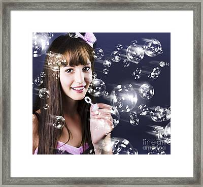 Birthday Party Girl Blowing Bubbles Framed Print