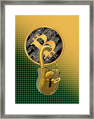 Bitcoin And Padlock Framed Print by Victor Habbick Visions