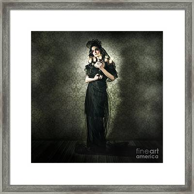 Black Fashion Model In Dark Vintage Haunted House Framed Print by Jorgo Photography - Wall Art Gallery