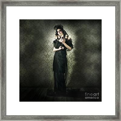 Black Fashion Model In Dark Vintage Haunted House Framed Print