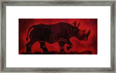 Framed Print featuring the pyrography Black Rhino by Larry Campbell
