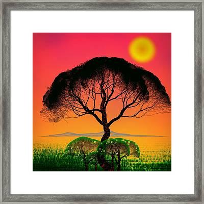Black Tree - Algorithmic Art Framed Print