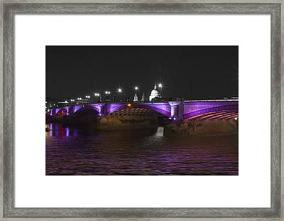 Blackfriars Bridge London Thames At Night  Framed Print