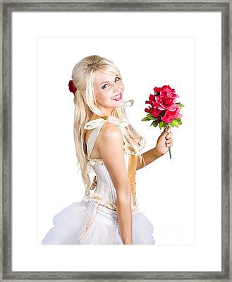 Blond Dancing Woman With Red Flowers Framed Print by Jorgo Photography - Wall Art Gallery