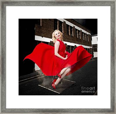 Blond Marilyn Monroe Pinup Girl In Retro Dress Framed Print by Jorgo Photography - Wall Art Gallery