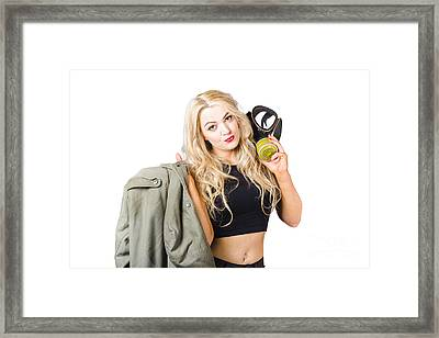 Blond Pin Up Woman Holding Gasmask. Nuclear Pinups Framed Print by Jorgo Photography - Wall Art Gallery