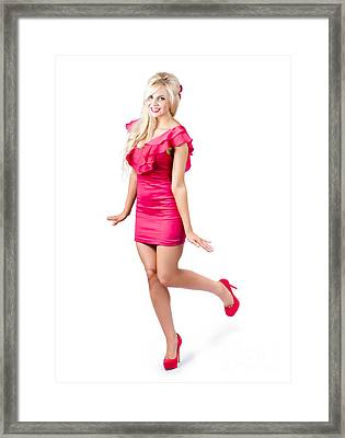 Blond Pin Up Woman In Red High Heel Shoes Framed Print