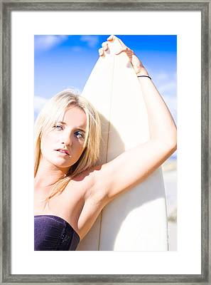 Blond Sports Girl Holding Surfboard Framed Print by Jorgo Photography - Wall Art Gallery