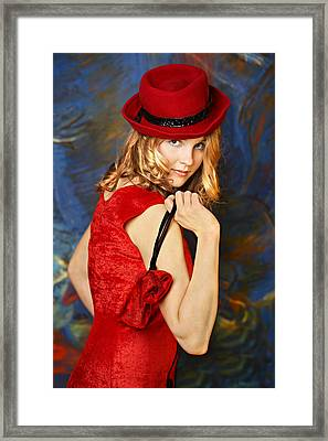 Blond Woman In A Red Hat Framed Print