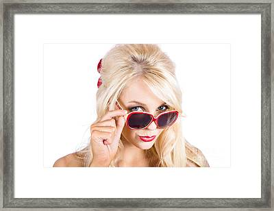 Blond Woman In Sunglasses Framed Print by Jorgo Photography - Wall Art Gallery