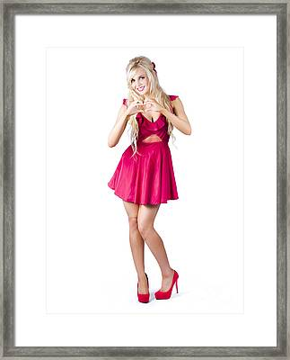 Blond Woman Making Love Heart Framed Print by Jorgo Photography - Wall Art Gallery