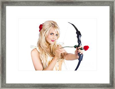 Blond Woman With Cupid Bow Framed Print