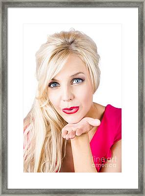 Blonde Female Lover Blowing Kiss Framed Print by Jorgo Photography - Wall Art Gallery