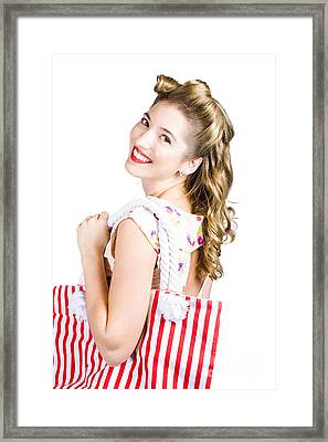Blonde Style Girl With Shopping Bags On White Framed Print