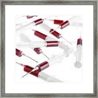 Blood Samples In Syringes Framed Print
