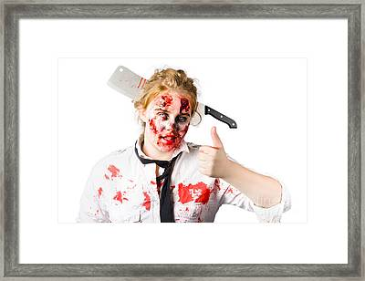 Bloody Woman With Cleaver In Head Framed Print by Jorgo Photography - Wall Art Gallery