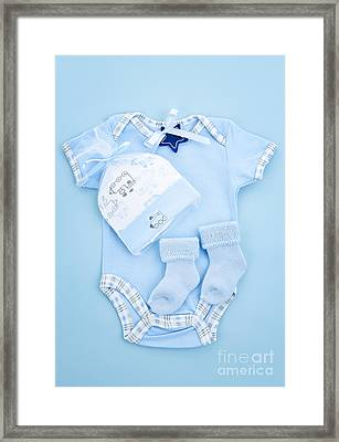 Blue Baby Clothes For Infant Boy Framed Print