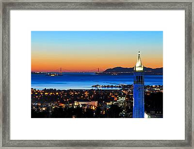 Blue Campanile And Golden Gate At Sunset Framed Print