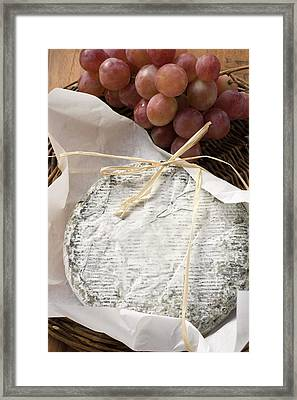 Blue Cheese (bresse Bleu, France) And Grapes Framed Print