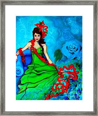Framed Print featuring the painting Blue Compliments by Angelique Bowman