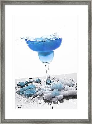 Blue Frozen Iceberg Margarita Splash Framed Print by Erin Cadigan