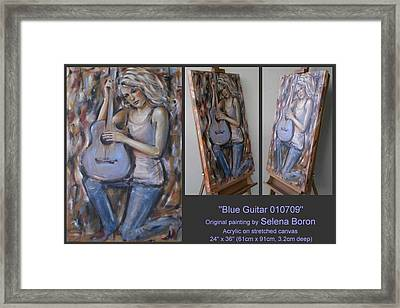 Framed Print featuring the painting Blue Guitar 010709 by Selena Boron