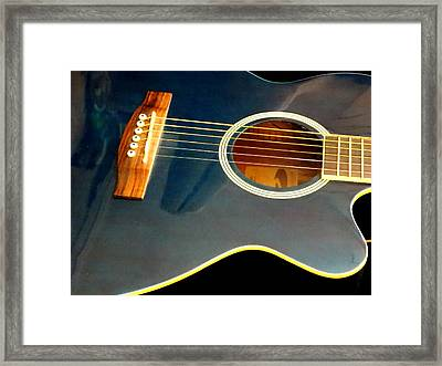 Blue Guitar Framed Print
