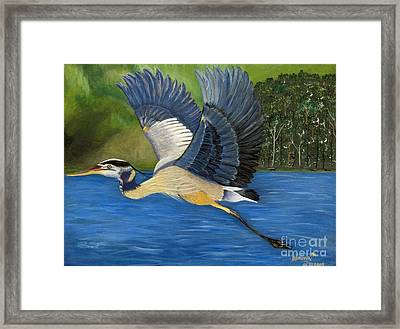 Framed Print featuring the painting Blue Heron In Flight by Brenda Brown