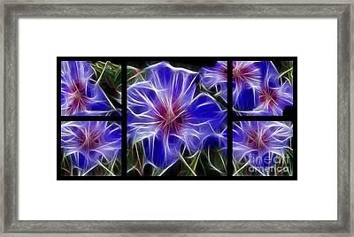 Blue Hibiscus Fractal Framed Print by Peter Piatt