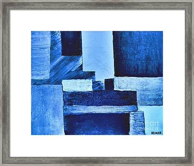 Blue Hues Abstract Framed Print by Marsha Heiken