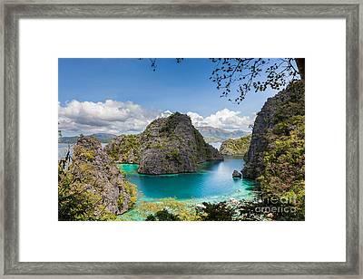 Blue Lagoon At Kayangan Lake Coron Island Philippines Framed Print by Fototrav Print