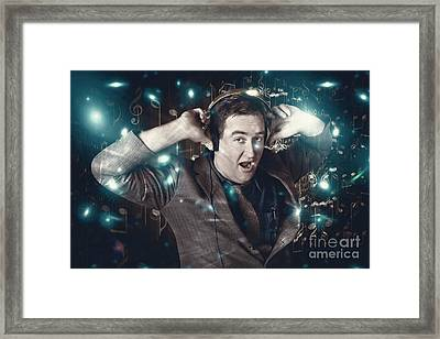 Blue Light Disco Man Dancing At Club Dance Party Framed Print by Jorgo Photography - Wall Art Gallery