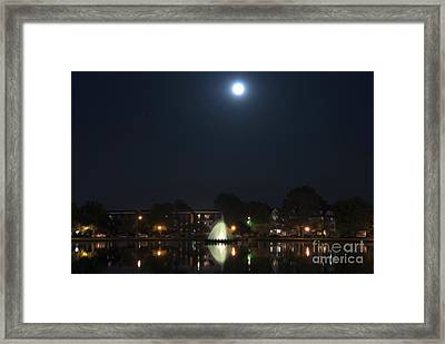 Framed Print featuring the digital art Blue Moon Over Fountain Lake by Kelvin Booker